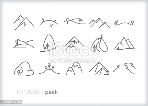 Set of 15 peak line icons of mountains, hills, rolling prairies and pyramids