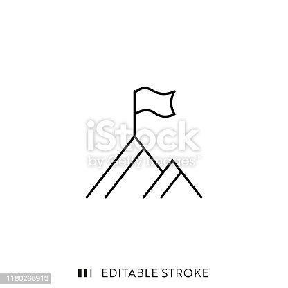 istock Peak Icon with Editable Stroke and Pixel Perfect. 1180268913