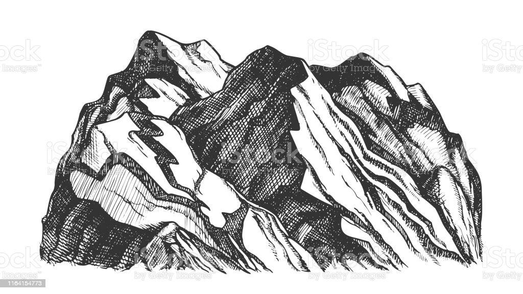 Peak Of Rocky Mountain Landscape Hand Drawn Vector Stock