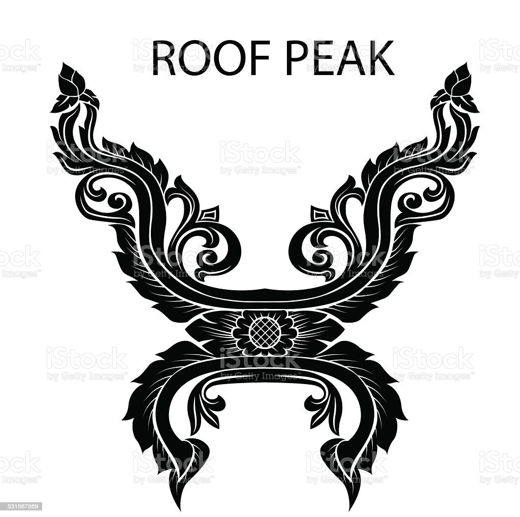 peak of thai or asia roof vector art illustration