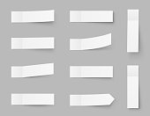 Pealistic sticky notes mockup, post stickers with shadows isolated on a grey background. Paper sticky tape with shadow. Vector paper adhesive tape, rectangle empty office blanks - stock vector.