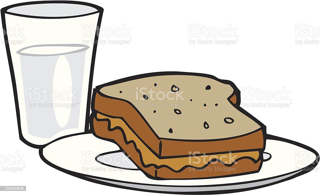 Peantu Butter Sandwich and Milk royalty-free stock vector art