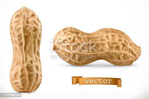 istock Peanut. 3d vector realistic icon 1142580253