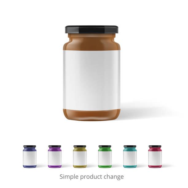 ilustrações de stock, clip art, desenhos animados e ícones de peanut, almond or nut butter in glass jar - jam jar