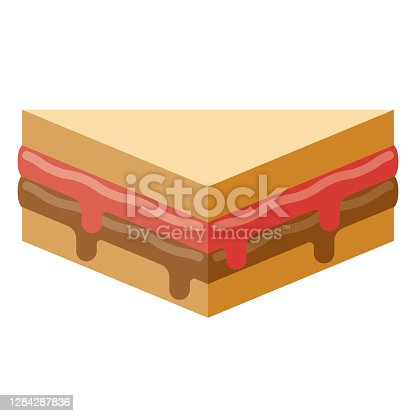 istock Peanut Butter and Jelly Sandwich Icon on Transparent Background 1284287836