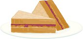 A peanut butter and jelly sandwich sliced diagonally on a plate. No gradients were used when creating this illustration.
