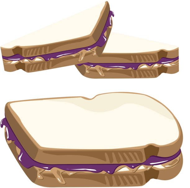 Peanut Butter and Jelly Sandwich vector art illustration