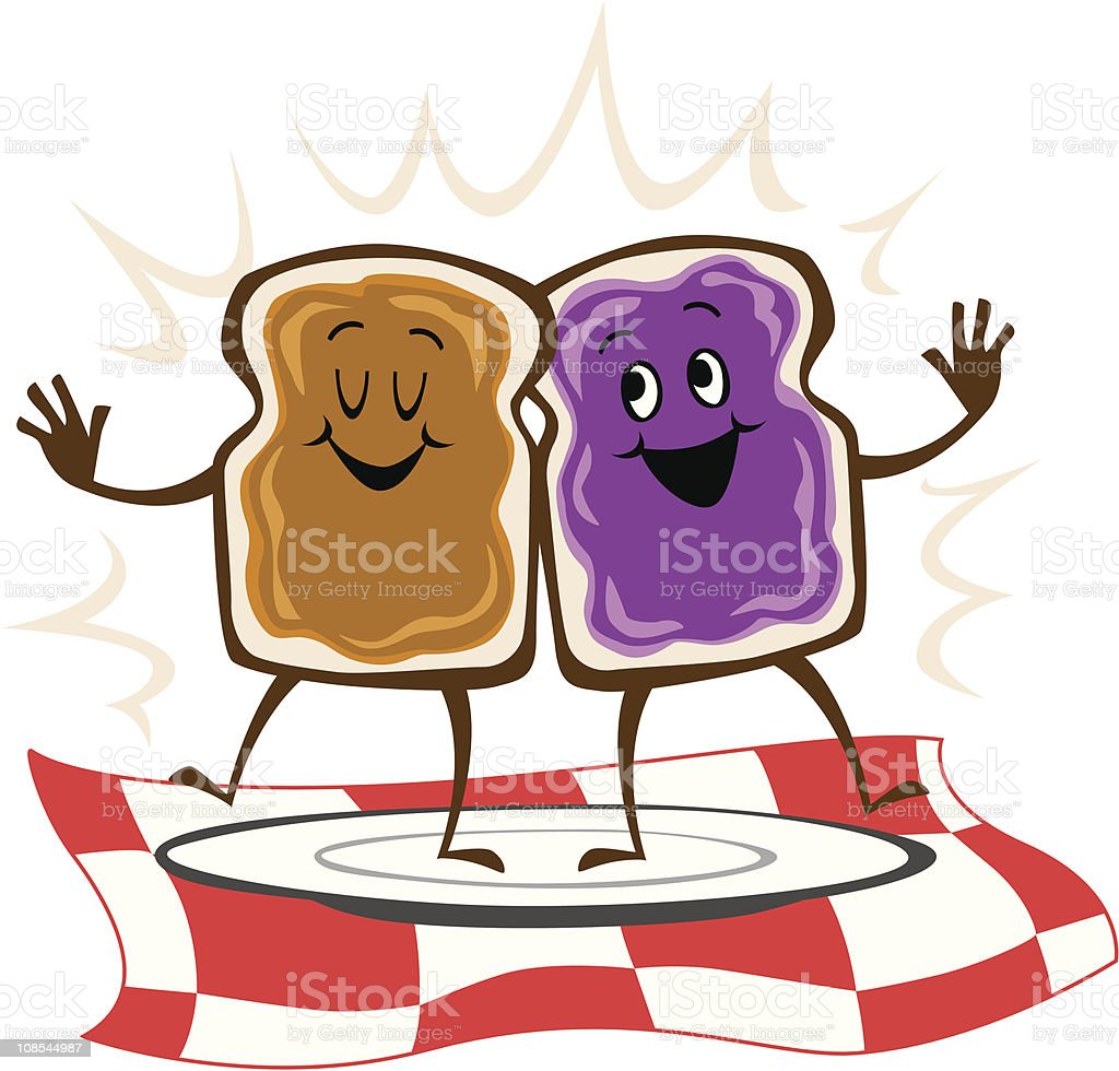 peanut butter on bread and jelly dancing stock vector art more rh istockphoto com peanut butter and jelly sandwich clipart peanut butter and jelly clip art free