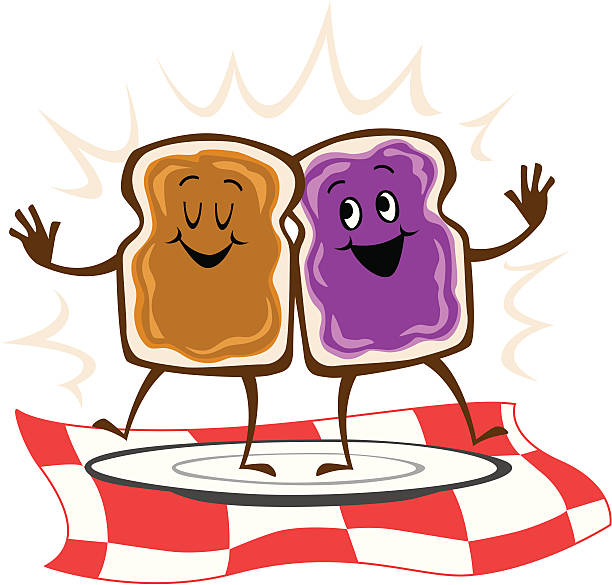 Peanut butter on bread and jelly dancing vector art illustration
