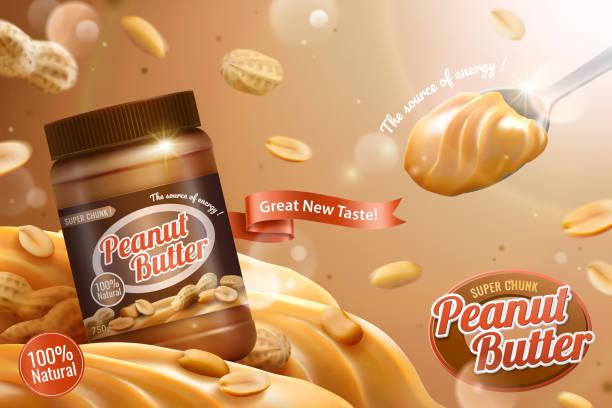 Peanut butter spread ads vector art illustration
