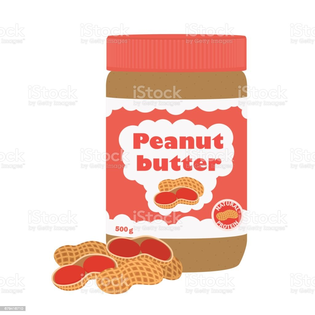 Peanut butter with peanuts. Healthy nutrition for breakfast. Flat style. royalty-free peanut butter with peanuts healthy nutrition for breakfast flat style stock vector art & more images of bottle