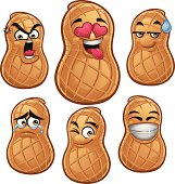 Cartoon peanut set of 6 including: Angry, In love, Sweat drop, Teary eyes, Wink, Smiley