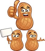 Cartoon peanut collection including: Thumbs up, Holding Sign, and Presenting