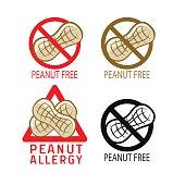 Peanut free symbol. Vector illustrations icon set on a white background