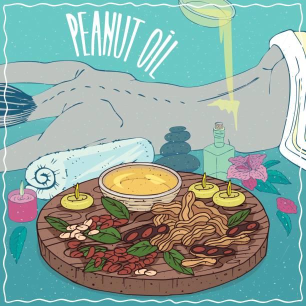 illustrazioni stock, clip art, cartoni animati e icone di tendenza di peanut oil used for body massage - china drug