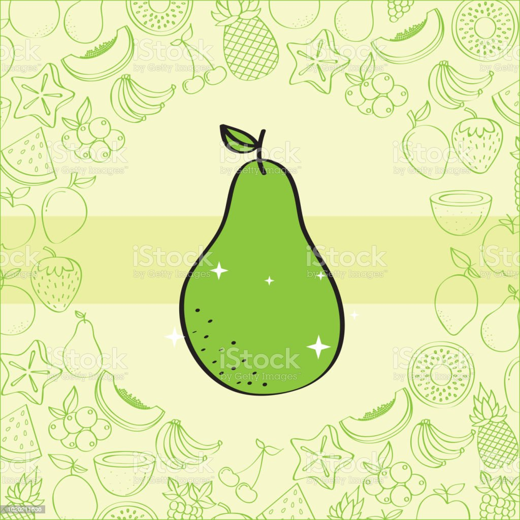 Pear Fruits Nutrition Background Pattern Drawing Color Stock Illustration Download Image Now Istock