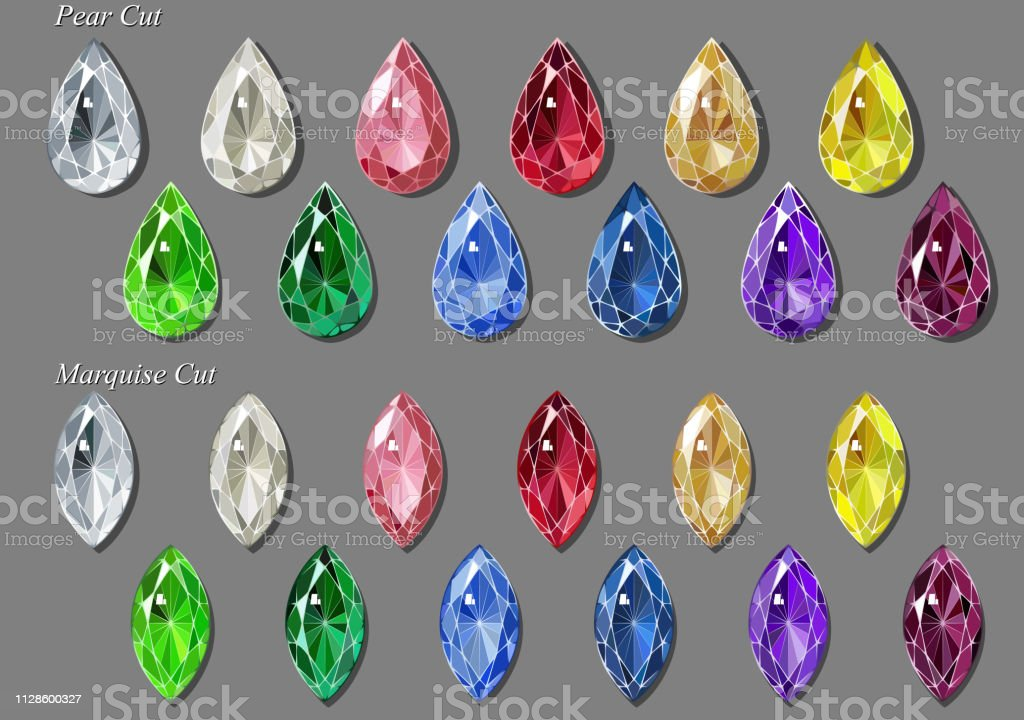 Pear Marquise Cut Diamonds And Gemstones In Twenty Various