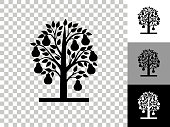 istock Pear Tree Icon on Checkerboard Transparent Background 1248124100