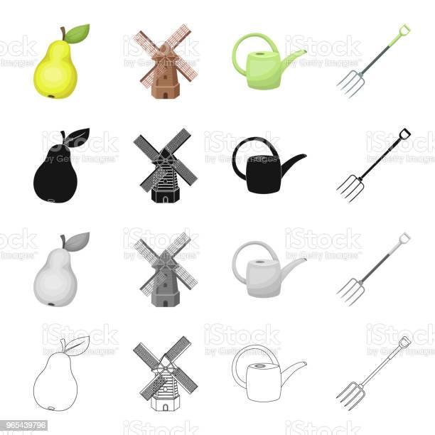 배 농장 관개 포크 도구에 대 한 급수 깡통에 풍차 농장과 야채 정원 만화 블랙 단색 개요 스타일 벡터 기호 재고 아이소메트릭 그림 웹에서 컬렉션 아이콘을 설정합니다 0명에 대한 스톡 벡터 아트 및 기타 이미지