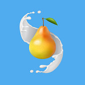 Pear with milk or yogurt splash. Fruit illustration. Realistic vector icon.