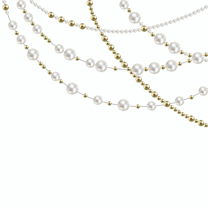 Pearl. Decoration. Beads. Jewelry. Threads. Beads. White. Gold. Fashion.