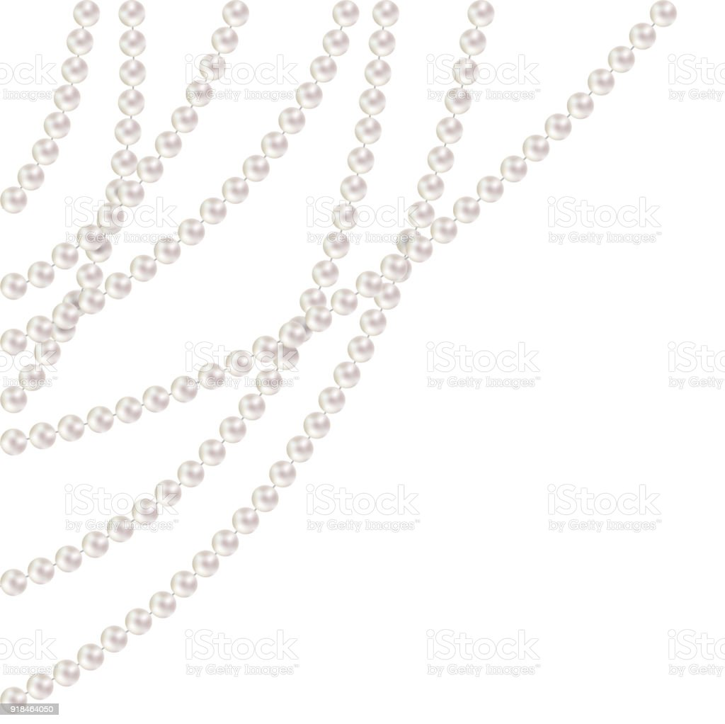 Pearl. Decoration. Beads. Threads. Garland. Jewelry. Border. Vector illustration. vector art illustration