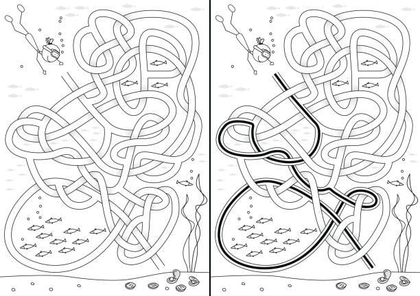 Labirinto de mergulho pérola - ilustração de arte em vetor