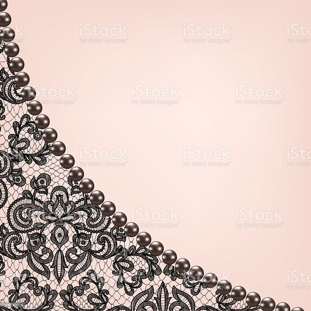 Pearl Frame On Lace Background Stock Illustration Download