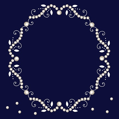 Pearl frame with decorative elements isolated on navy background.