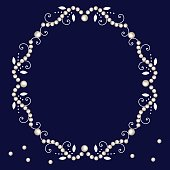 istock Pearl frame with decorative elements isolated on navy background. 1335693961