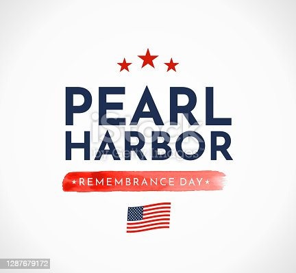 Pearl Harbor Remembrance Day card with USA flag. Vector