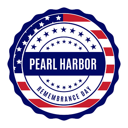 Pearl Harbor Remembrance Day label. Vector