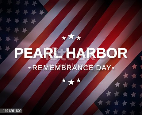 Pearl Harbor Remembrance Day poster with USA flag. Vector illustration. EPS10