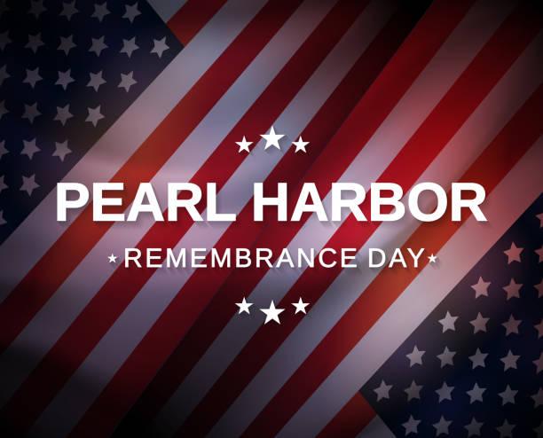 ilustraciones, imágenes clip art, dibujos animados e iconos de stock de cartel del día del recuerdo de pearl harbor con bandera de ee.uu. vector - memorial day