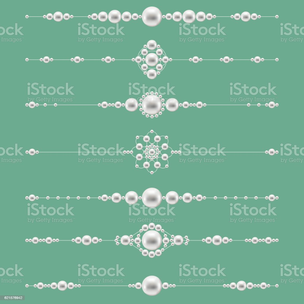 Pearl jewelry dividers. Vector pearls set vector art illustration