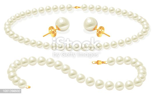 Vector Illustration of a beautiful set with Pearl Jewelry clip Art