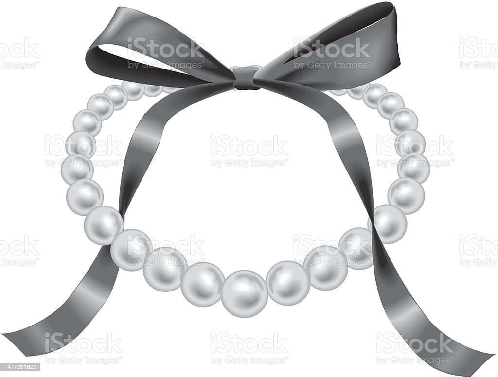 Pearl Necklace Bow royalty-free stock vector art