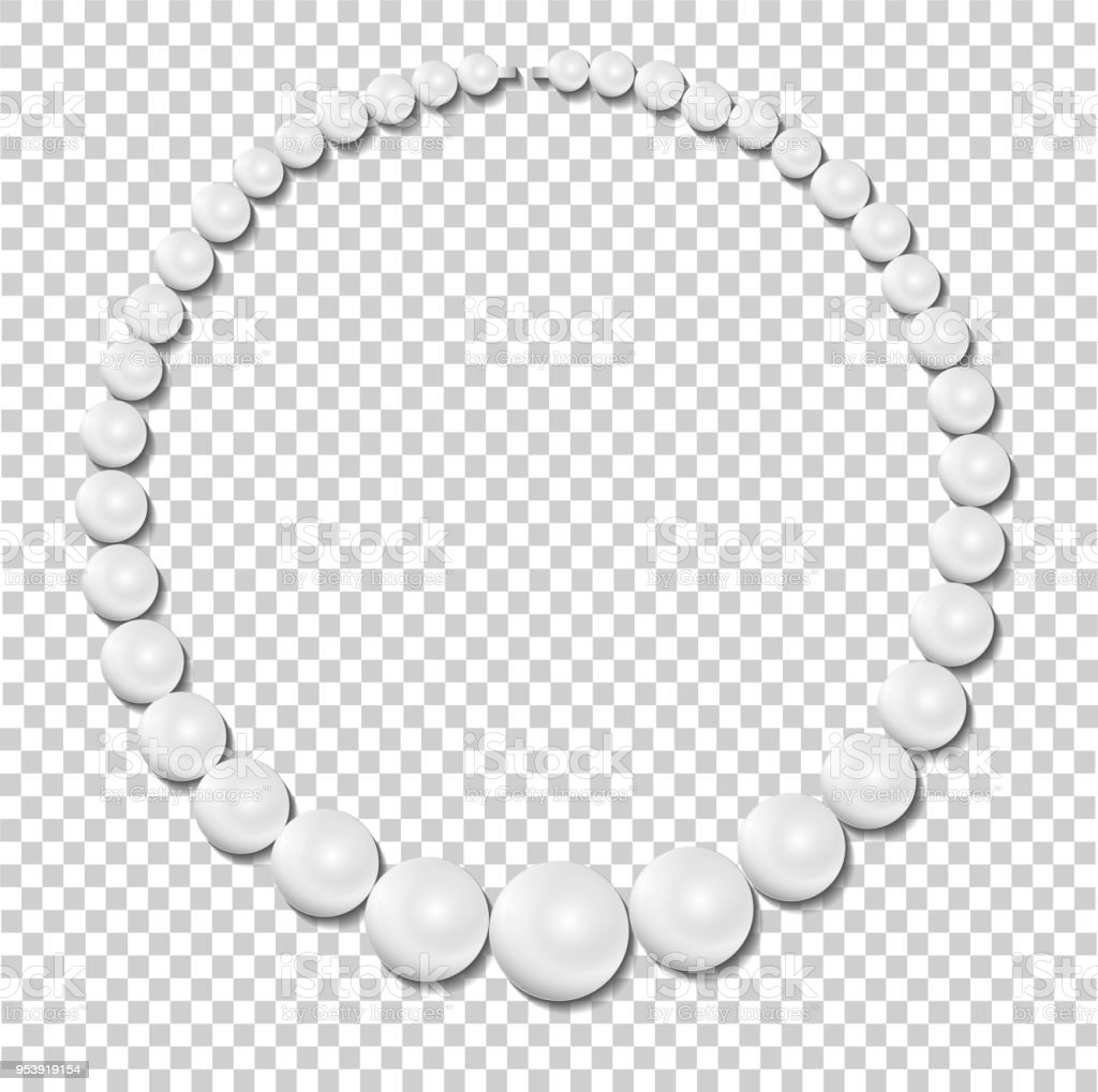 pearl necklace on transparent background stock illustration vector