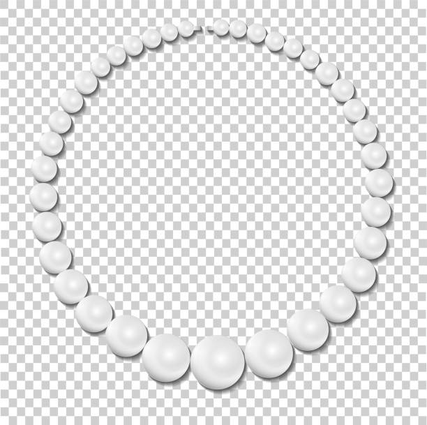 pearl necklace on transparent background, stock illustration vector - pearl jewelry stock illustrations, clip art, cartoons, & icons