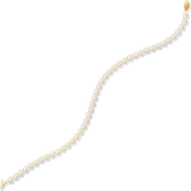 pearl necklace with gold clasp - pearl jewelry stock illustrations, clip art, cartoons, & icons