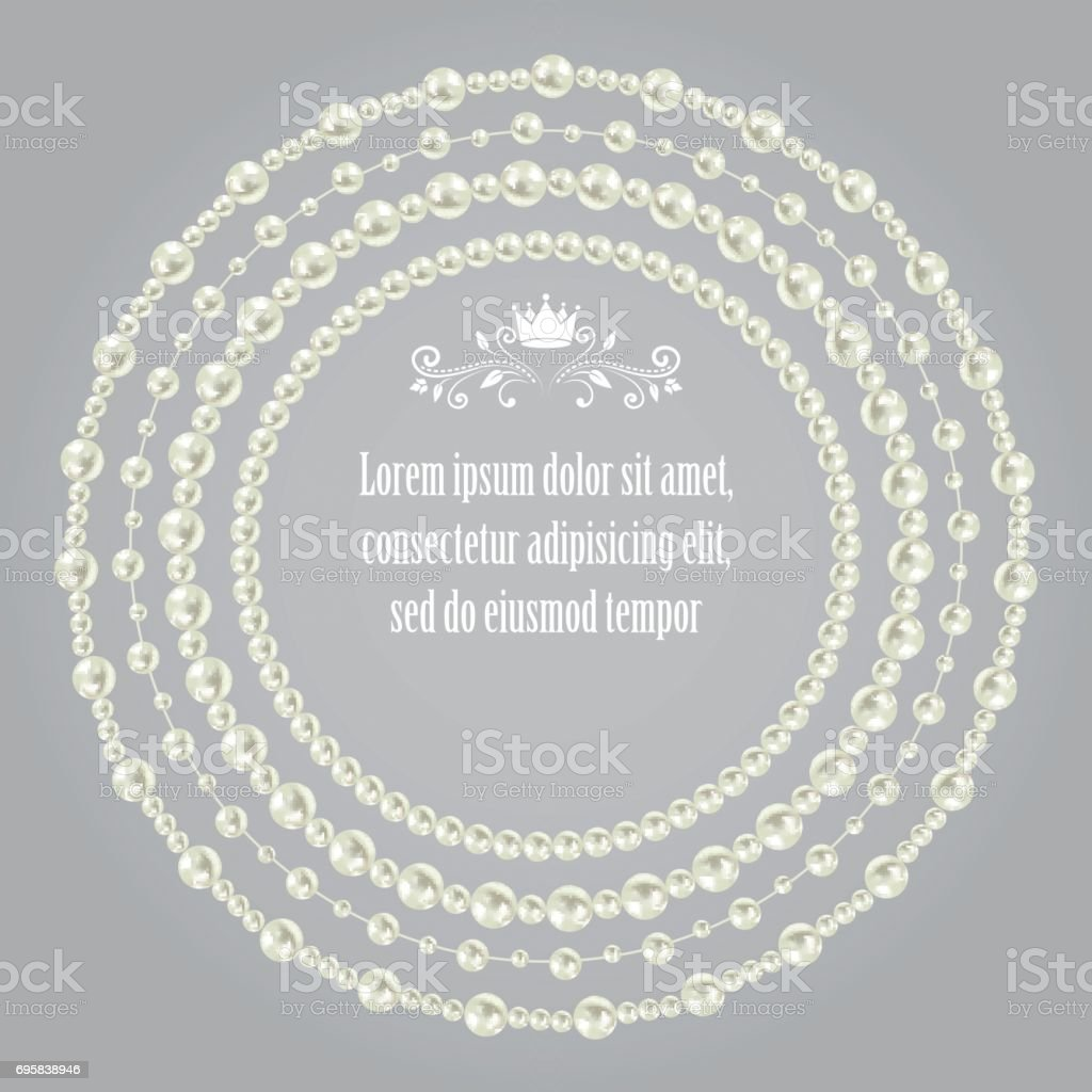 pearl realistic set collection of beautiful round frames isolated on grey seamless background. vector vector art illustration