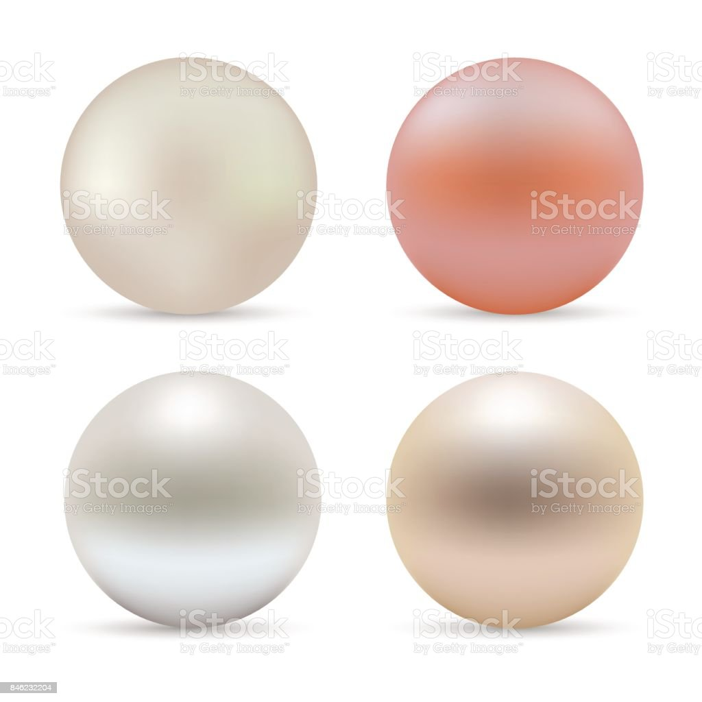 Pearl realistic set isolated on white background. Spherical beautiful 3D orb. Vector. vector art illustration