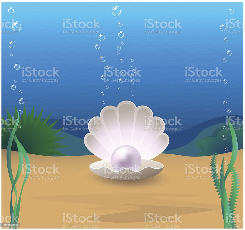 A pearl resting inside a clam shell at the bottom of the sea vector art illustration