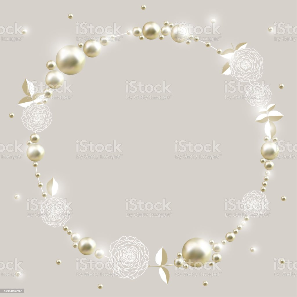 Perle Rosen Blätter Schmuck Perlen Dekoration Abstraktes Vektor ...