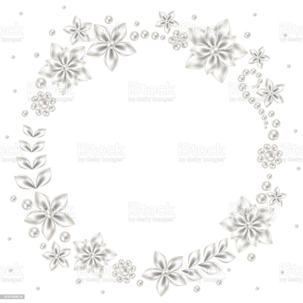 Perle Satin Blumen Hochzeit Rahmen Romantische Darstellung Einladung ...