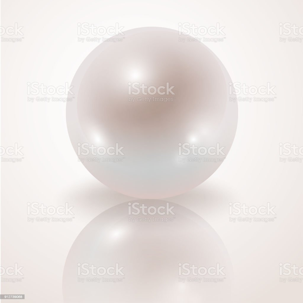 Pearl. White Pearl isolated on white background, decor, decoration. Realistic vector object vector art illustration