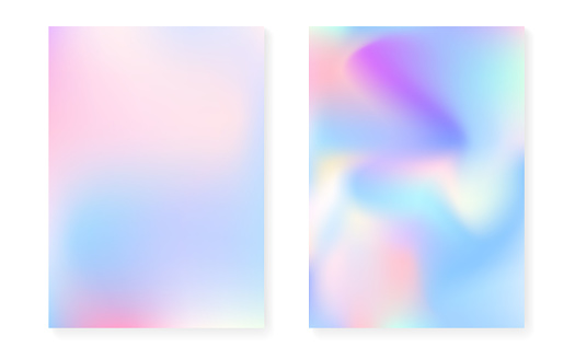 Pearlescent background with holographic gradient. Hologram cover
