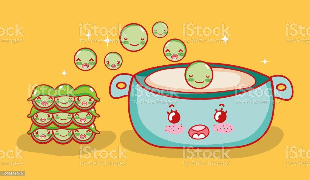 Ilustración De Sopa De Guisantes Comida Japonesa Kawaii De Dibujos