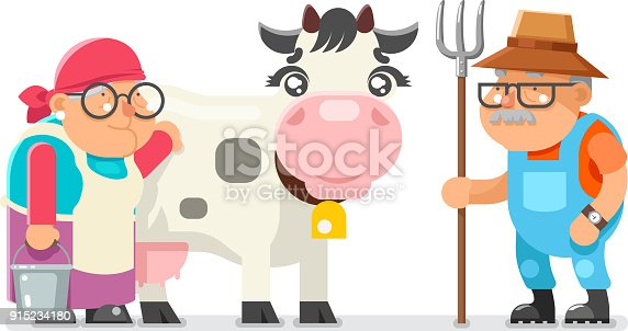 Peasant milkmaid farmer granny grandfather adult rancher old age woman man cartoon character villager isolated flat design vector illustration