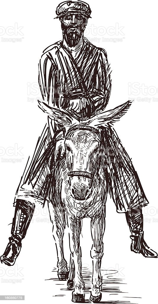peasant on a donkey royalty-free stock vector art